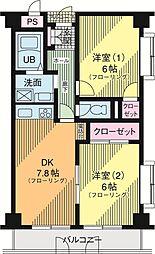 ディーセントハウスB棟 3階2DKの間取り