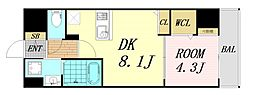 ユーズ7番館 5階1DKの間取り