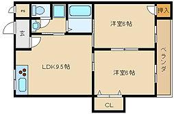 ビューハイツA&K[3階]の間取り