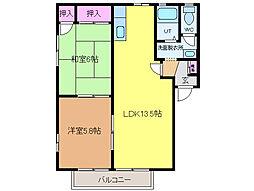 愛媛県東温市野田2丁目の賃貸アパートの間取り