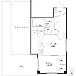 東京都新宿区早稲田南町の賃貸マンションの間取り
