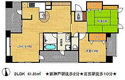 ワコーレ新神戸カデンツァ[6階]の間取り
