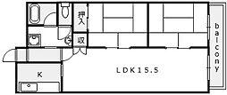 ターミナルマンション朝日プラザ堺[3階]の間取り