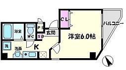 駅前敷島第二ビル 6階1Kの間取り