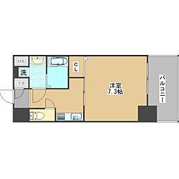ワールドアイ大阪ドームシティ 8階1Kの間取り
