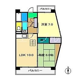 インペリアル西本2[2階]の間取り