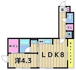 ハイム・グーテンベルク 2階1LDKの間取り