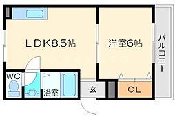 ニューコバヤシマンション 3階1LDKの間取り
