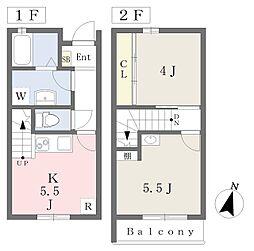 (仮称)岡崎市柱1丁目賃貸計画 1階2Kの間取り
