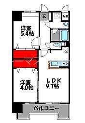 JR鹿児島本線 千早駅 徒歩4分の賃貸マンション 9階2LDKの間取り
