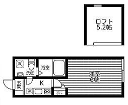 JR横浜線 町田駅 徒歩6分の賃貸アパート 2階1Kの間取り