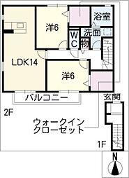 グラニュータウンD棟[2階]の間取り