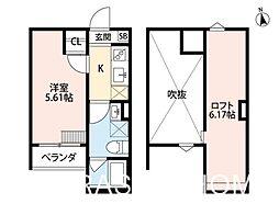 大阪府堺市堺区二条通の賃貸アパートの間取り