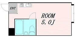 プレアール都島 4階ワンルームの間取り