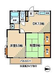 東京都府中市南町1丁目の賃貸アパートの間取り