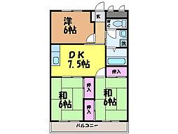 愛媛県松山市古川北2丁目の賃貸マンションの間取り