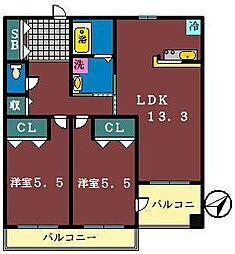グローバルガーデンシティAB棟[A312号室]の間取り
