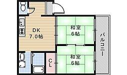 大阪府大阪市阿倍野区共立通2丁目の賃貸アパートの間取り