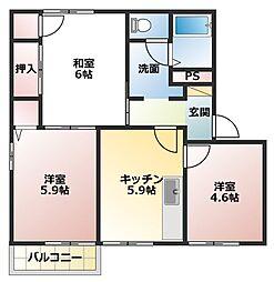 兵庫県明石市大久保町江井島の賃貸アパートの間取り