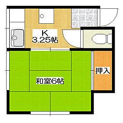川島荘 2階1Kの間取り
