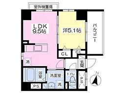 大名デュークマンション 5階1LDKの間取り
