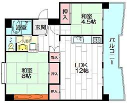 江坂住宅3号棟[8階]の間取り