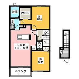 ヒルズコート B 2階2LDKの間取り
