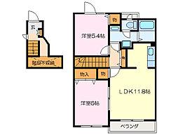 プルーリオンB棟[2階]の間取り