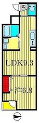 エピナール南流山 2階1LDKの間取り