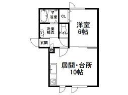 タウン1312(A棟) 1階1LDKの間取り