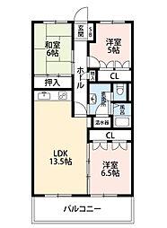 福岡県北九州市小倉北区大手町の賃貸マンションの間取り