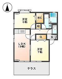 サン フローラ B棟[1階]の間取り