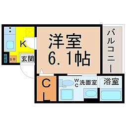 愛知県名古屋市中村区向島町1丁目の賃貸アパートの間取り