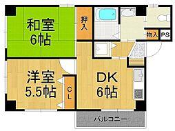 REVE甲東園II[4階]の間取り