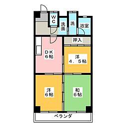 パークサイド藤[4階]の間取り