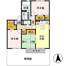 兵庫県揖保郡太子町太田の賃貸アパートの間取り