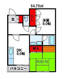 福岡県宗像市光岡の賃貸マンションの間取り