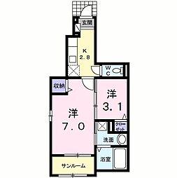 八坂町アパート[0102号室]の間取り