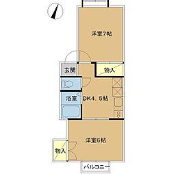 新潟県新潟市東区中山6丁目の賃貸アパートの間取り