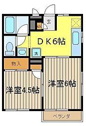 埼玉県志木市柏町3丁目の賃貸アパートの間取り