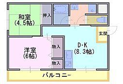 シャルム小山[101号室]の間取り