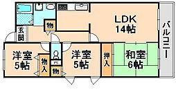 兵庫県伊丹市大鹿の賃貸マンションの間取り