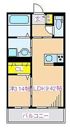 エスペランサ中央 2階1LDKの間取り
