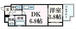 MOKA eSTA(モカエスタ) 7階1DKの間取り