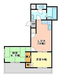 静岡県三島市西若町の賃貸マンションの間取り