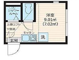 Nano北新宿 2階ワンルームの間取り