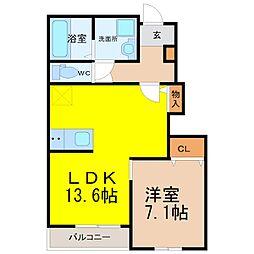 愛知県名古屋市緑区鎌倉台2丁目の賃貸アパートの間取り