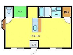 南海高野線 北野田駅 徒歩9分の賃貸マンション 3階1DKの間取り