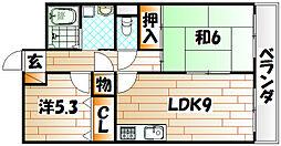福岡県北九州市八幡西区貴船台の賃貸マンションの間取り