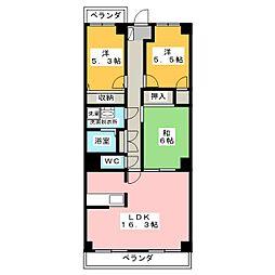 不二マンションA棟[3階]の間取り
